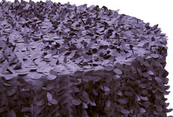 Leaf Petal Taffeta Round Table Linens -  Plum