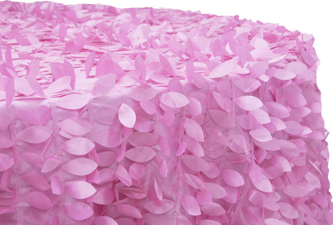 Leaf Petal Taffeta Round Table Linens -  Pink