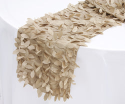Leaf Petal Taffeta Table Runner - Champagne