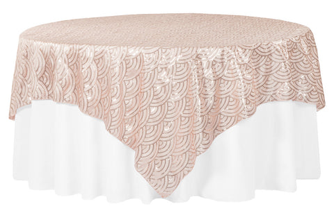 Mermaid Scale Sequin Taffeta Table Overlay - Blush/Rose Gold