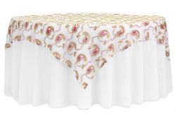 Paisley Sequin Table Overlay - Fuchsia/Gold