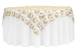 Paisley Sequin Table Overlay - Gold
