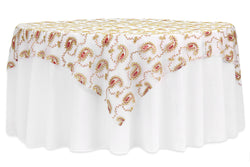 Paisley Sequin Table Overlay - Red/Gold