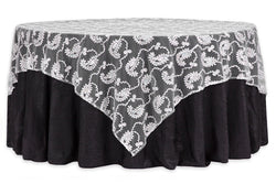 Paisley Sequin Table Overlay - Silver
