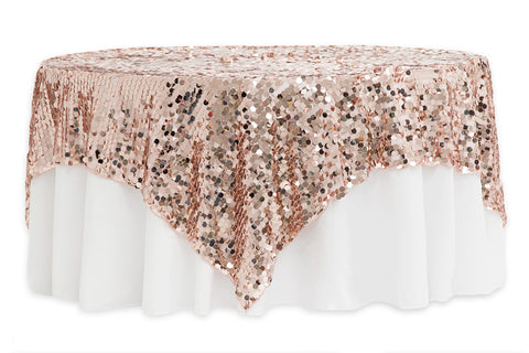 Large Payette Sequin Table Overlays   Blush/Rose Gold