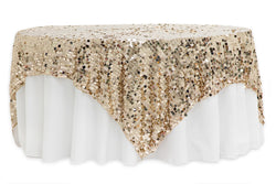 Large Payette Sequin Table Overlays  - Champagne