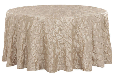 Genial Pinched Wheel Taffeta Round Table Linens   Champagne