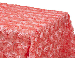 Satin Rosette Rectangular Table Linens - Coral