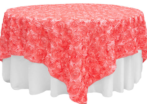 Satin Rosette Overlays - Coral