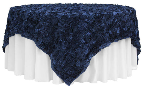 Satin Rosette Overlays - Navy Blue