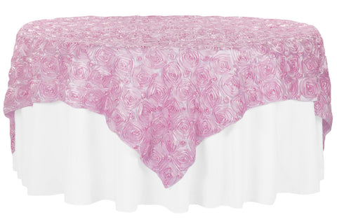 Satin Rosette Overlays - Medium Pink