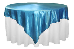 Satin Table Overlay - Aqua Blue