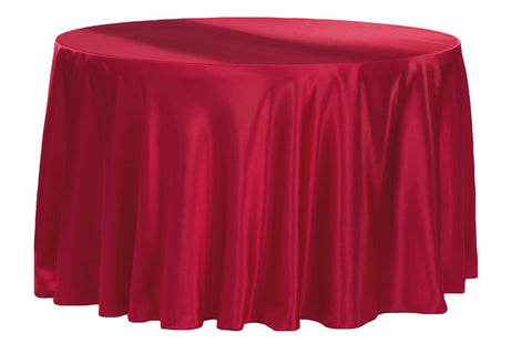 Satin Round Table Linens - Apple Red