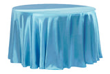 Satin Round Table Linens - Aqua Blue