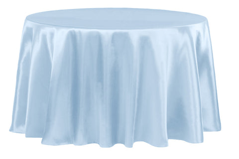 Satin Round Table Linens - Baby Blue