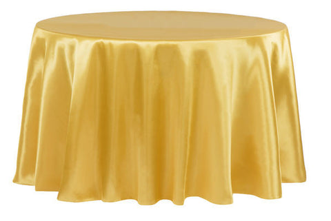 Satin Round Table Linens - Bright Gold