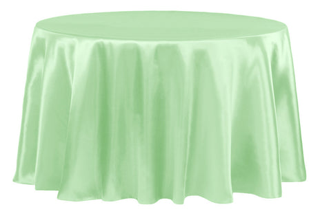 Satin Round Table Linens - Mint Green