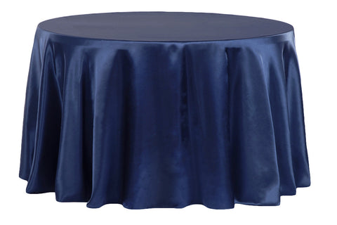 Satin Round Table Linens - Navy Blue