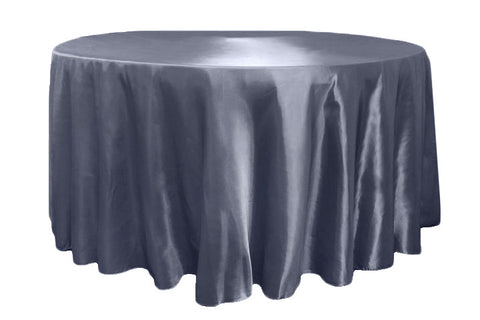 Satin Round Table Linens - Pewter
