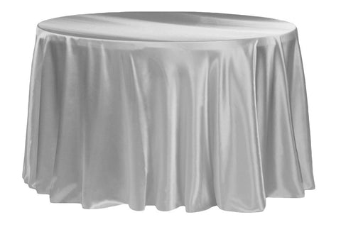 Satin Round Table Linens - Silver