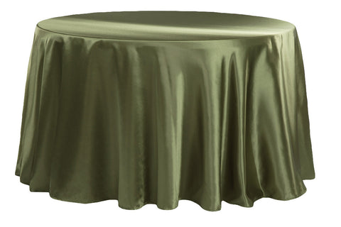 Satin Round Table Linens - Willow Green