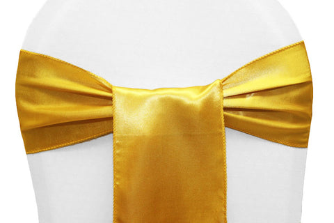 Satin Chair Sashes - Bright Gold