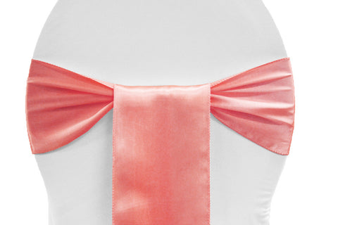 Satin Chair Sashes - Coral