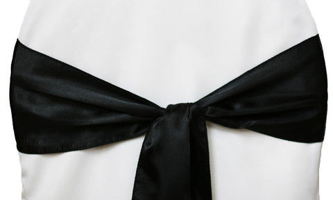 Satin Chair Sashes - Black