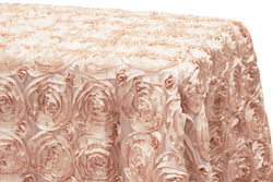 Satin Rosette Rectangular Table Linens - Blush/Rose Gold