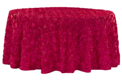 Satin Rosette Round Table Linens - Apple Red