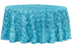 Satin Rosette Round Table Linens - Aqua Blue