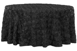 Satin Rosette Round Table Linens - Black