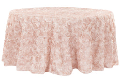 Satin Rosette Round Table Linens - Blush/Rose Gold