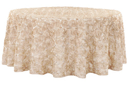 Satin Rosette Round Table Linens - Champagne