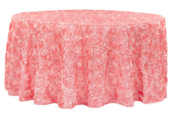 Satin Rosette Round Table Linens - Coral