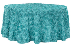 Satin Rosette Round Table Linens - Dark Turquoise