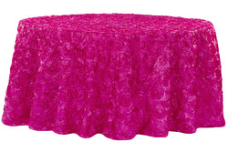 Satin Rosette Round Table Linens - Fuchsia