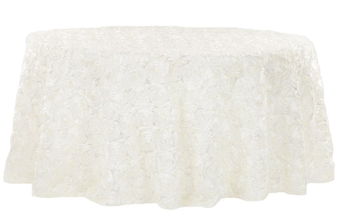 Satin Rosette Round Table Linens - Ivory