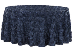 Satin Rosette Round Table Linens - Navy Blue