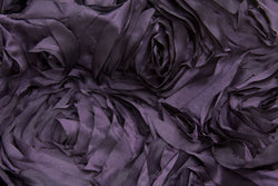 Satin Rosette Rectangular Table Linens - Plum