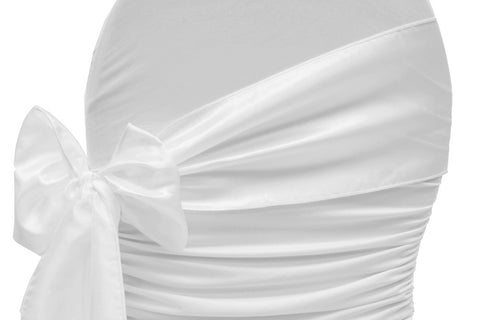 Taffeta Chair Sash - White