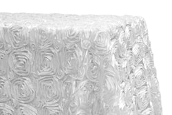 Satin Rosette Rectangular Table Linens - White