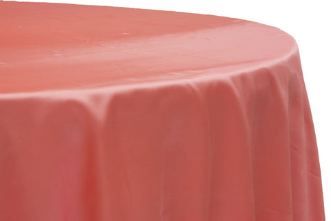 Satin Round Table Linens - Coral