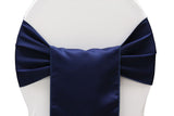 Lamour Satin Chair Sashes - Navy Blue