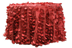 Petal Circle Taffeta Round Table Linens - Apple Red