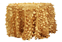 Petal Circle Taffeta Round Table Linens - Gold