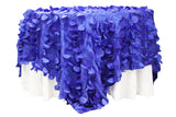 Petal Circle Taffeta Table Overlay - Royal Blue