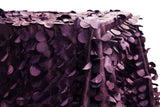 Petal Circle Taffeta Rectangular Table Linens - Plum
