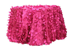 Petal Circle Taffeta Round Table Linens - Fuchsia