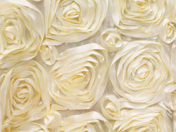 Satin Rosette Rectangular Table Linens - Ivory